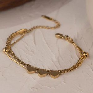 NEW 18K Gold Plated Triple Heart Double Layer Chain Bead Bracelet
